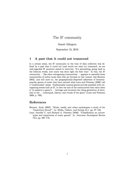 'The IF community' (typeset with LaTeX)