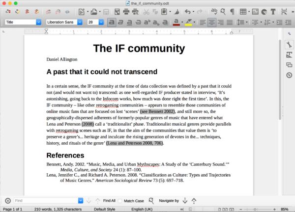 Word-processing in LibreOffice Writer (with deliberate error)